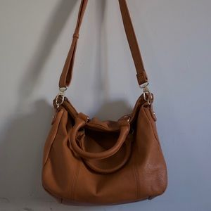 Large Faux Leather Brown Bag
